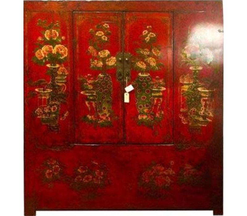 Armoire Chinoise Tibétaine Antique Peinte à la Main Rouge