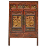 Antique Chinese Bridal Cabinet White Wood Carving  - Ningbo China