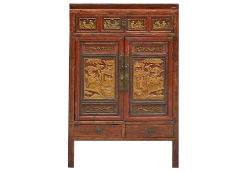 Fine Asianliving Antique Chinese Bridal Cabinet with Wood Carving  - Ningbo China