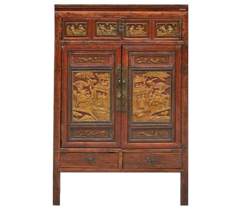 Antiker Chinesischer Schrank Handgeschnitzte Holz mit Gold B103xT50xH176cm