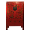 Fine Asianliving Antique Chinese Wedding Cabinet Red Handpainted Gold W110xD54xH185cm