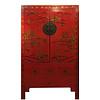 Fine Asianliving Armoire de Mariage Chinoise Antique Rouge Peinte àla Main d'Or L110xP54xH185cm
