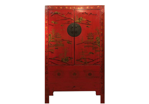 Fine Asianliving Antique Chinese Bridal Cabinet Handpainted Red