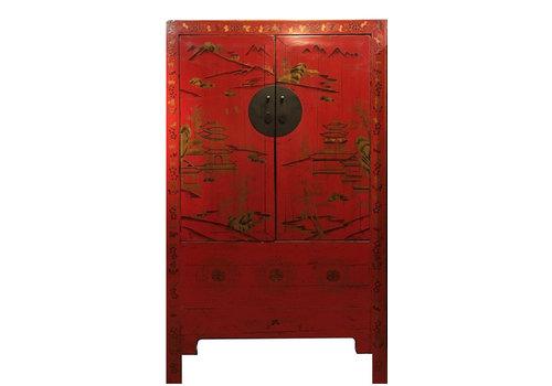 Fine Asianliving Armoire de Mariage Chinoise Antique Rouge peinte à la Main d'or L110xP54xH185cm