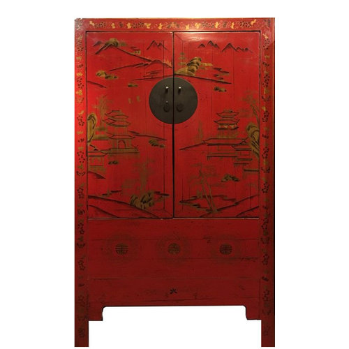 Antieke Chinese Bruidskast Handbeschilderd Rood