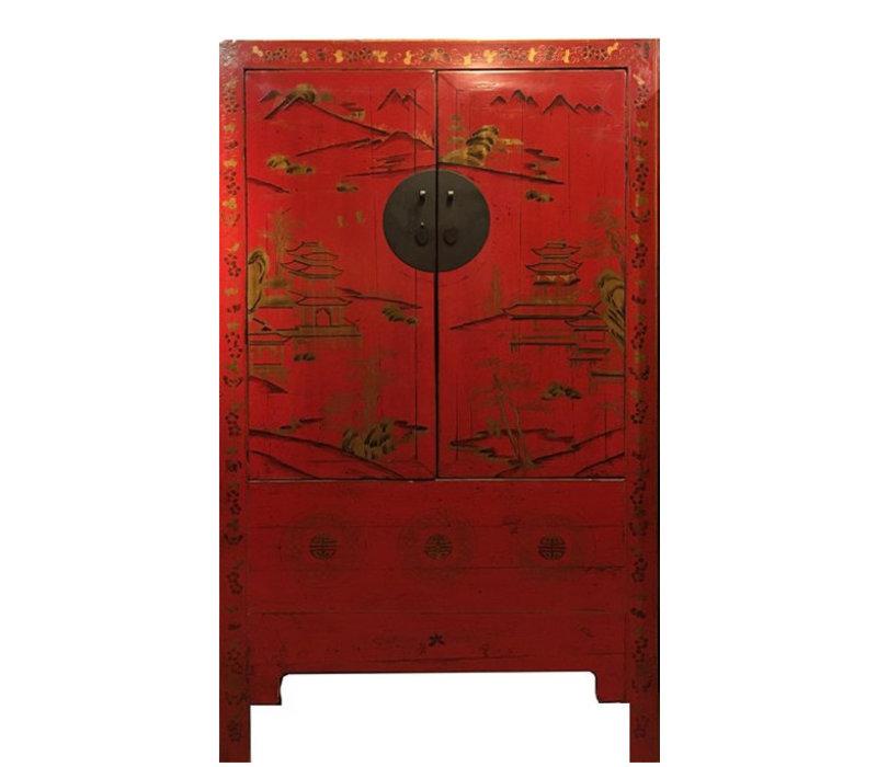 Armadio Nuziale Cinese Antico Dipinto a Mano Rosso L110xP54xA185cm