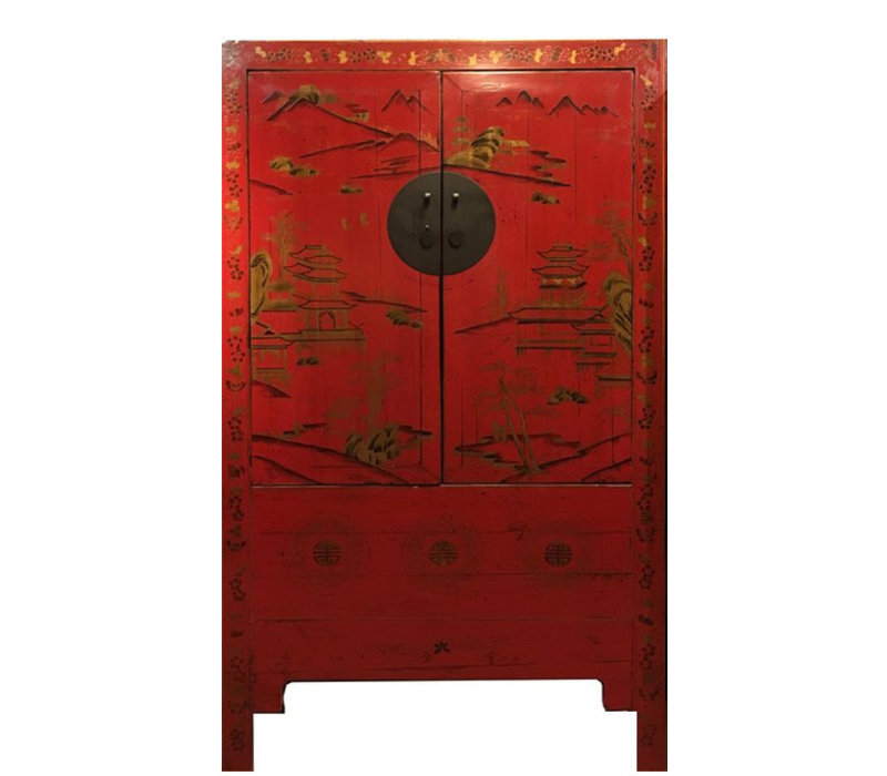 Armoire de Mariage Chinoise Antique Rouge Peinte àla Main d'Or L110xP54xH185cm