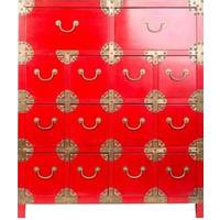 Cassettiera Cinese con 14 Cassetti Rossa