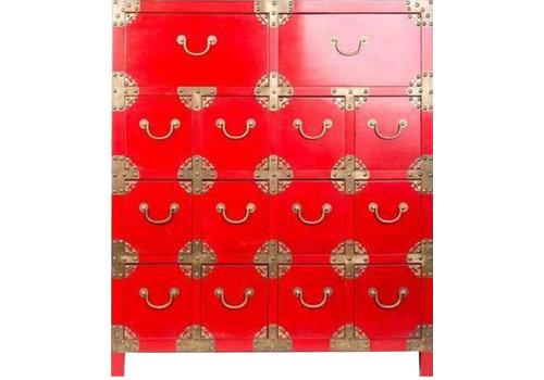Fine Asianliving Cassettiera Cinese con 14 Cassetti Rossa