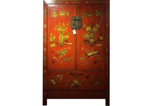 Fine Asianliving Armadio Nuziale Cinese Antico Pintado a Mano Rosso Siglo 20
