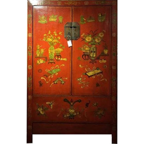 Antique Chinese Cupboard Hand-drawn Flowers
