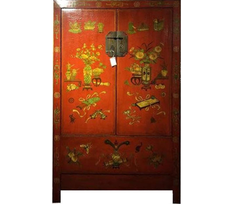 Armadio Nuziale Cinese Antico Pintado a Mano Rosso Siglo 21