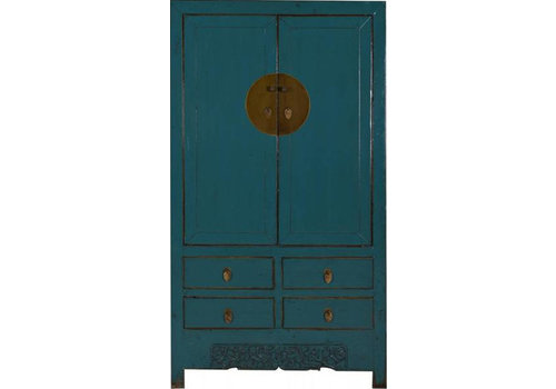 Fine Asianliving Chinese Cabinet White Fine Details Teal  - Shanxi, China