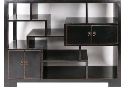 Fine Asianliving Chinese Open Cabinet Bookcase Black