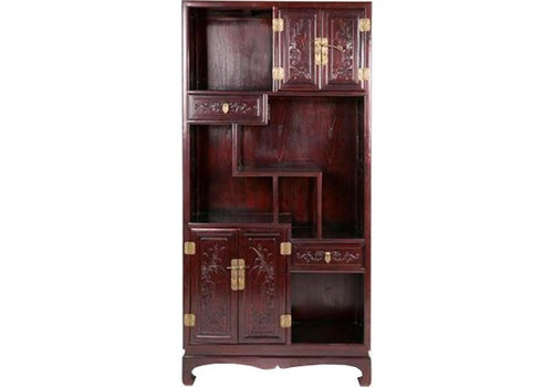 Fine Asianliving Chinese Open Bookcase Dark Brown Hand-carved