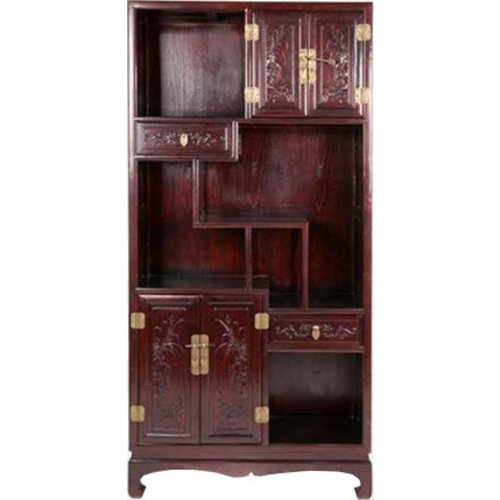 Chinese Open Bookcase Dark Brown Hand-carved