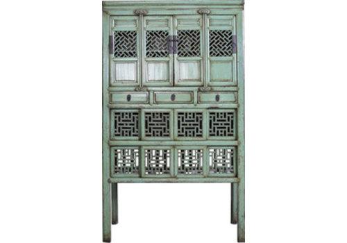 Fine Asianliving Armoire Chinoise Antique Mint Sculptée à la Main (1919-1929)