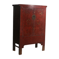 Fine Asianliving Antique Chinese Wedding Cabinet Gold Painting W126xD58xH183cm