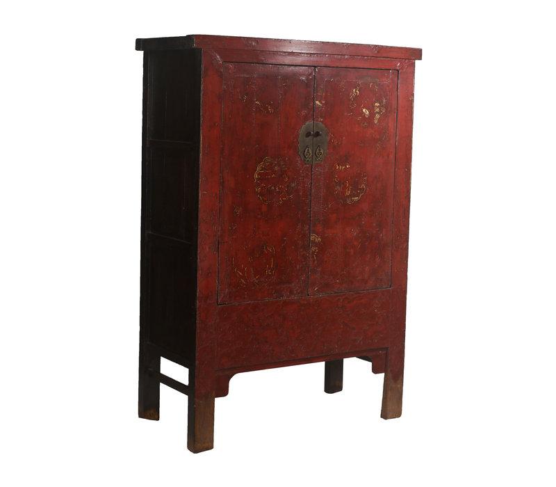Antiker Chinesischer Hochzeitsschrank Goldmalerei B126xT58xH183cm