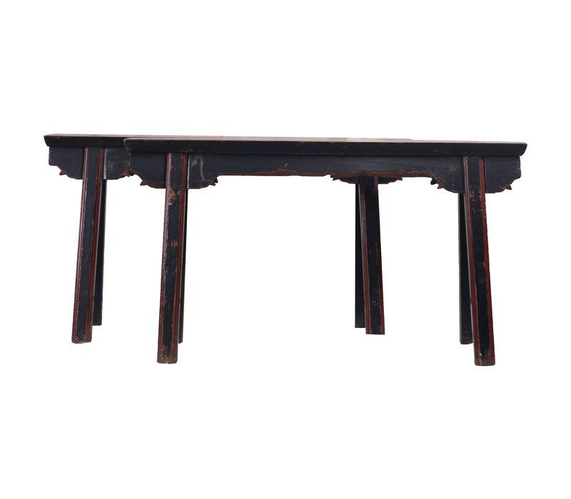 Panca di Legno Cinese Antico Nero Rosso - Shanghai, Cina
