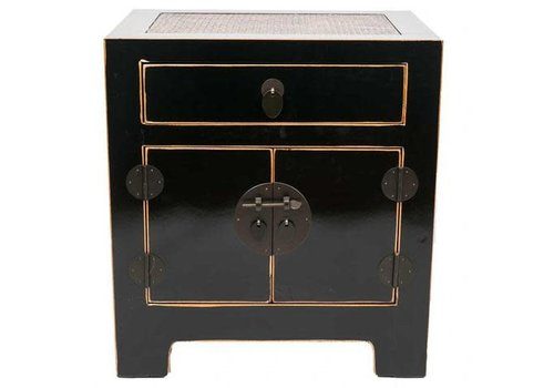 Fine Asianliving Chinese Night Stand with Handbraided Bamboo Black