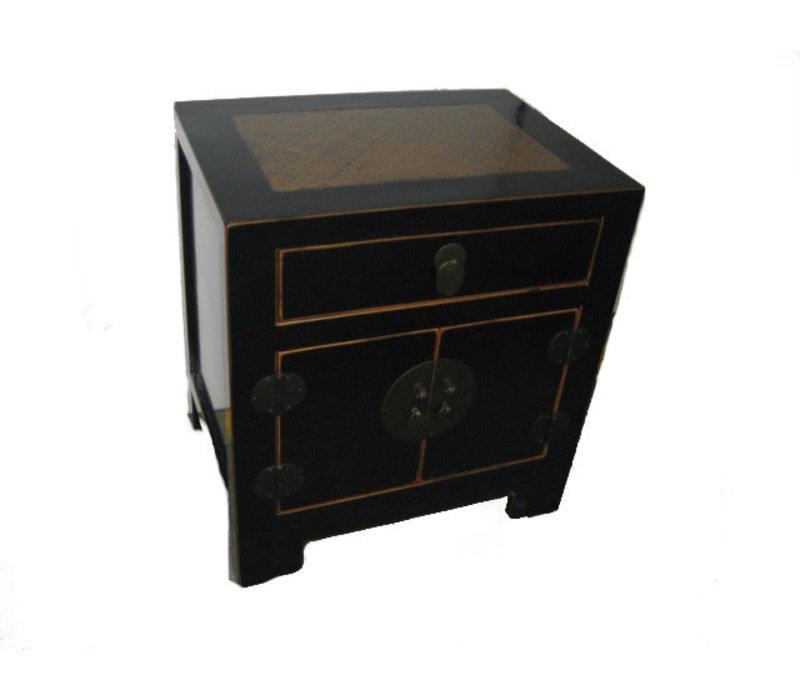Table de nuit chinoise avec bambou tressé à la main noir