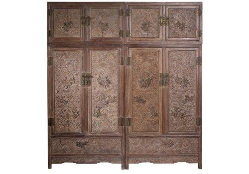 Fine Asianliving Antiker Chinesischer Hochzeitsschrank Set / 2 Handgefertigt Kaiser Dragons B110xT55xH240cm