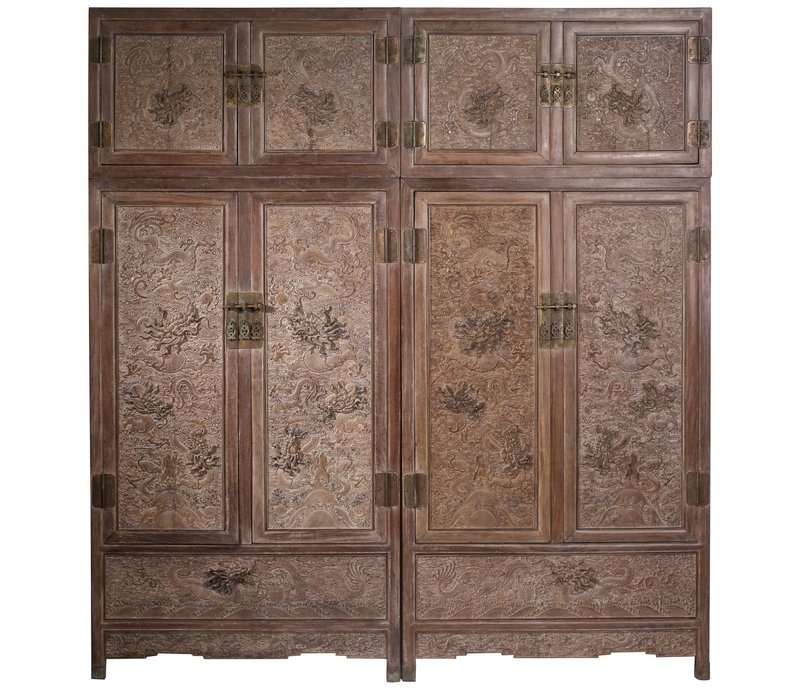 Fine Asianliving Antique Chinese Bridal Cabinet Dragons