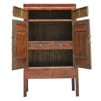 Antique Chinese Bridal Cabinet with Wood Carving  - Ningbo China