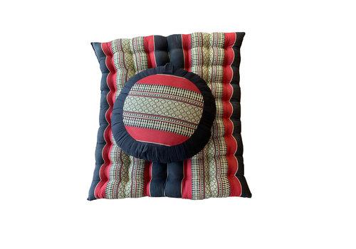 Fine Asianliving Thai Cushion Set: Meditation Cushion Zafu D40xH20cm, Rollable Mat Zabuton 76x72cm Kapok Red
