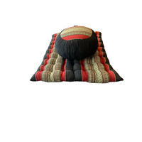 Thai Complete Set: Round Meditation Cushion, Meditation Mat Red