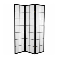 Japanese Room Divider Shoji Traditional Rice-paper 3 Panel - Black 180/B3