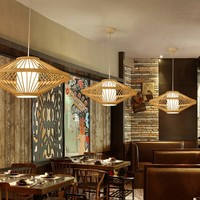 Fine Asianliving Ceiling Light Pendant Lighting Bamboo Lampshade Handmade - Sienna