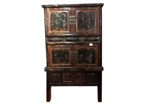 Fine Asianliving Antique Chinese Bridal Cabinet Brown