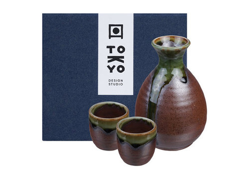 Fine Asianliving Japanese Sake Set - Iga Oribe brown