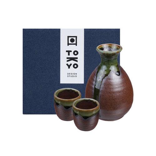 Japanese Sake Set - Iga Oribe brown