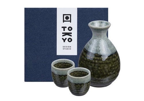 Fine Asianliving Japanese Sake Set - Oribe Irabo Green