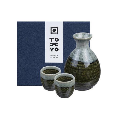 Japanese Sake Set - Oribe Irabo Green