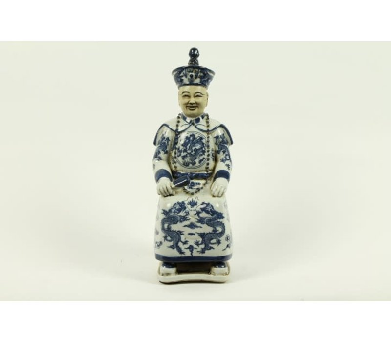 Chinese Emperor Porcelain Figurine Three Generations Qing Dynasty Statues - Luck A
