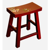 Fine Asianliving Chinese Stool Handpainted Blossoms Red
