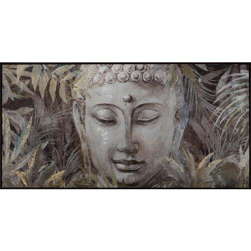 Boeddha Schilderij Bladeren 62x122cm