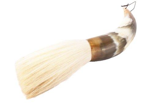 Fine Asianliving Chinese Calligraphy Brush Buffalo Horn Black White Goat Hair