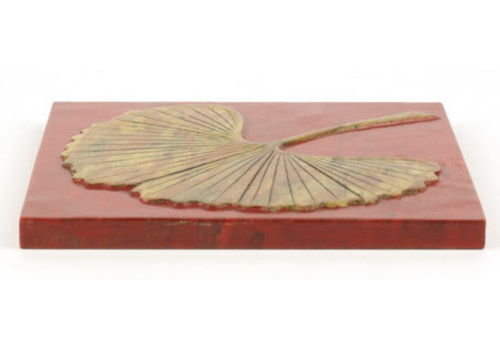 Fine Asianliving Soapstone Pan Coaster Gingko Red Handmade in Vietnam