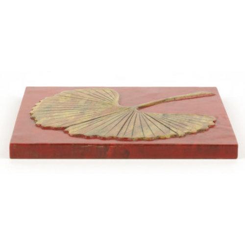 Fine Asianliving Speksteen Onderzetter Pannen Gingko Rood Handmade in Vietnam