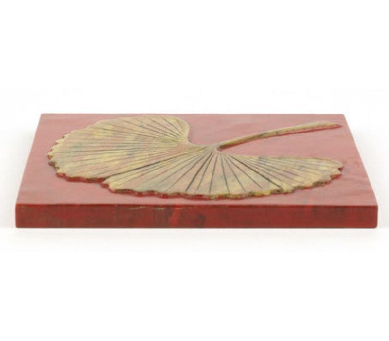 Speksteen Onderzetter Pannen Gingko Rood Handmade in Vietnam