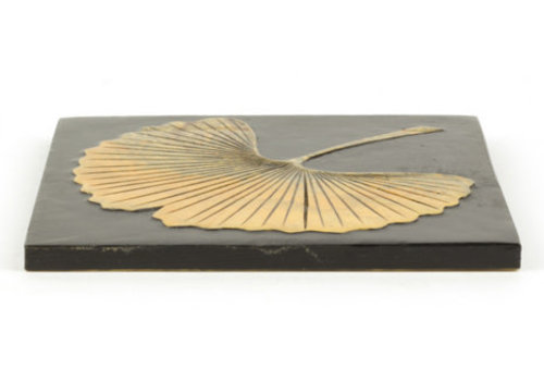 Fine Asianliving Soapstone Pan Coaster Ginkgo Black Handmade in Vietnam