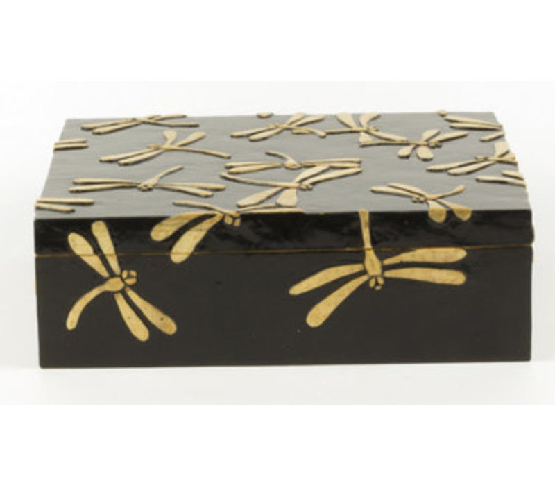 Luxury Soapstone Storage Box Dragonfly Black Handmade Vietnam