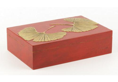 Fine Asianliving Speksteen Opbergdoos Gingko Rood Handmade Vietnam