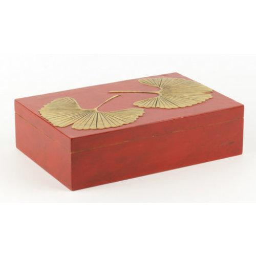 Fine Asianliving Luxe Speksteen Opbergdoos Gingko Rood Handmade Vietnam