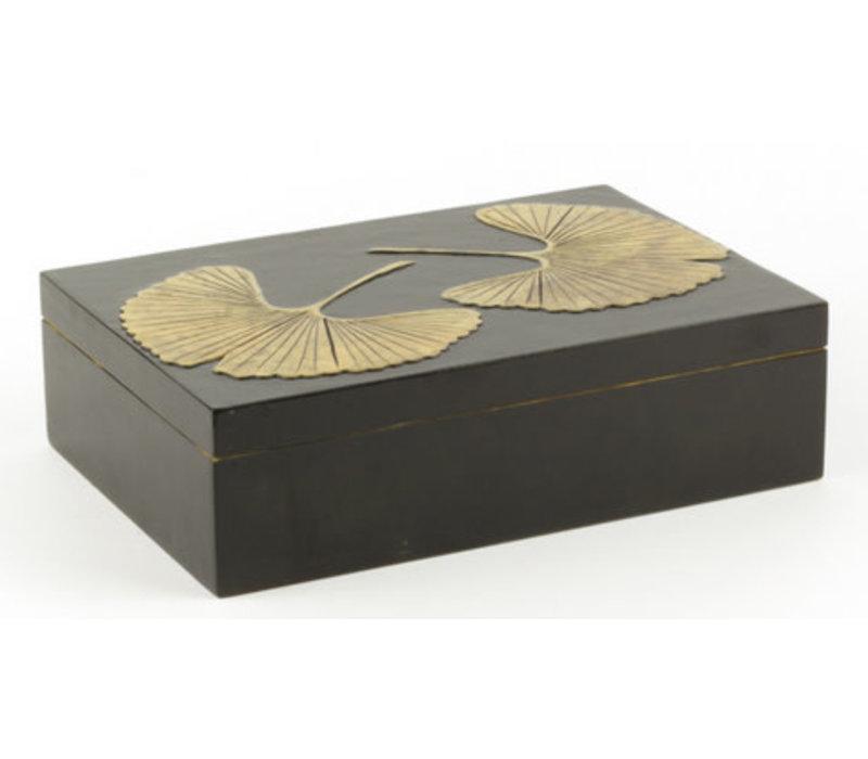 Soapstone Storage Box Gingko Black Handmade in Vietnam